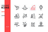 Fishing concept - line design style icons set