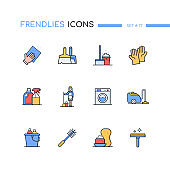 Cleaning - modern line design style icons set