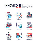 Repair services - line design style icons set