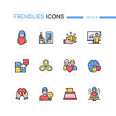 Psychology - modern line design style icons set