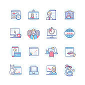 Remote work - line design style icons set