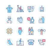 Medical equipment - line design style icon set
