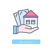 Mortgage - vector line design single isolated icon