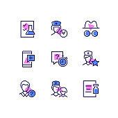 Digital medicine - line design style icons set