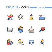 Children - modern line design style icons set