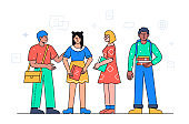 Happy students standing together - colorful flat design style illustration
