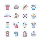 Fast food - modern line design style icons set