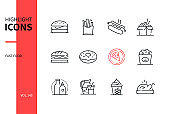 Fast food - modern line design style icons set