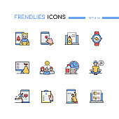 Healthcare mobile app - line design style icons set