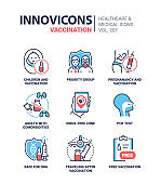 Vaccination - modern line design style icons set