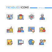 Online education - modern line design style icons set