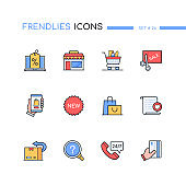 Shopping - modern line design style icons set