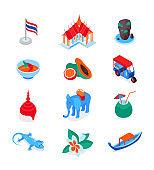 Thai symbols - modern colorful isometric icons set
