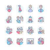 Family life - modern line design style icons