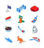 Australian symbols - modern colorful isometric icons set
