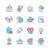 Psychology and therapy - line design style icons set