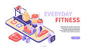 Everyday fitness - modern colorful isometric web banner