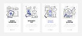 Finance management - modern line design style web banners