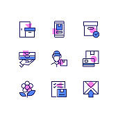 Delivery - modern line design style icons set
