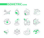 Beach vacation and traveling - line isometric icons set
