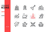Russia - modern line design style icons set