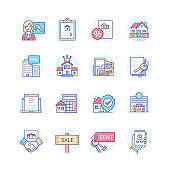 Real estate - line design style icons set