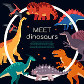 Meet dinosaurs - colorful flat design style banner
