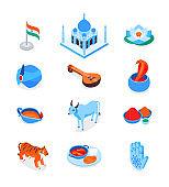 Indian symbols - modern colorful isometric icons set