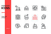 Computer attacks - line design style icons set