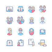 Children's home - modern line design style icons