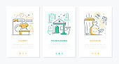 Housekeeping services - line design style web banners