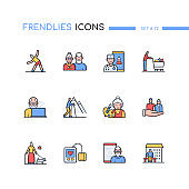Senior people - line design style icons set