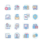 Bank services - line design style icons set