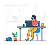 Girl working from home - colorful flat design style illustration
