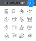 Planning mobile app - line design style icons set