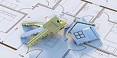House keys on construction blueprint plans, Residential development project. 3d illustration