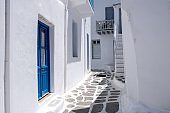 Mykonos, Greece. Traditional buildings and narrow streets, white and blue color