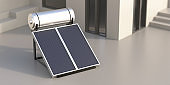 Solar water heater, panels and boiler on house terrace. 3d illustration