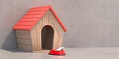 Dog house and bone on gray background, wooden cabin for pet home. 3d illustration