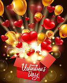 Happy Valentines day gift box open present with flying hearts, ballons gold and bright rays of light, burst explosion. Happy Valentines day gift box. Vector illustration poster, banner, card, isolated