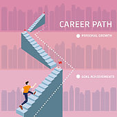 Young man running up stairway to target Career Path. Cuccessful choice employeeman move up path success. Vector illustration