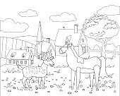Farm animals coloring book educational illustration for children. Cute goat and horse, rural landscape coloring page. Vector black white outline cartoon characters