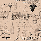 Seamless pattern Wine grape branche, bottles, glasses, vineyard, unreadable text, wooden barrel, chees, corkscrew. Doodle sketch hand drawing. Vector illustartion isolated retro