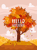 Autumn tree colorfull, fall background rural countryside landscape, yellow orange leaves. Lettering Hello Autumn, poster, banner. Vector illustration cartoon style
