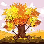 Autumn Oak tree landscape, city park. Fall, trees in yellow orange foliage, panorama, horizon. Vector background illustration, poster