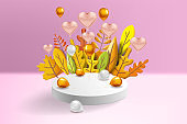 Autumn leaves 3D yellow, red, brown, orange colors. Fall bouquet, pedestal, stage, podium, foil balloons gold, white. Minimal 3d render plasticine, vector illustration banner, poster