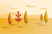 Autumn landscape trees leaves 3D yellow, red, brown, orange colors. Fall nature, clouds. Minimal 3d render plasticine, vector illustration banner, poster