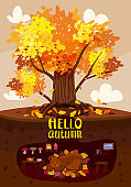 Autumn tree colorfull, cute Bear is sleeping in a burrow, hole. Lettering Hello Atumn, fall background rural countryside landscape, yellow orange leaves, poster, banner. Vector illustration cartoon style