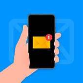 Hand holds phone with mail post new message on blue background. Vector illustration.