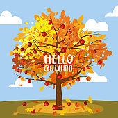 Apple tree, rural landscape. Hello Autumn, harvest, ripe fruits on tree, countriyside fall. Vector illustration cartoon style poster